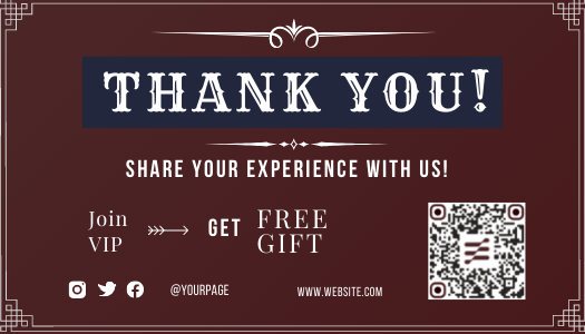 Brown Amazon post-purchase thank you template with QR code