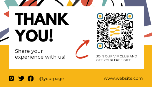 Yellow Amazon post-purchase thank you template with QR code