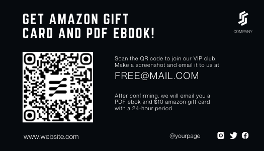 Black&White Amazon thank you card template with QR code
