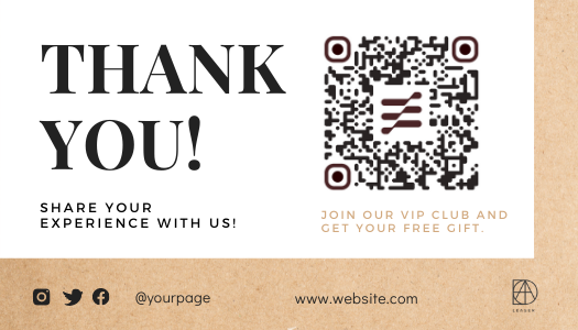 Light brown Amazon thank you card template with QR code