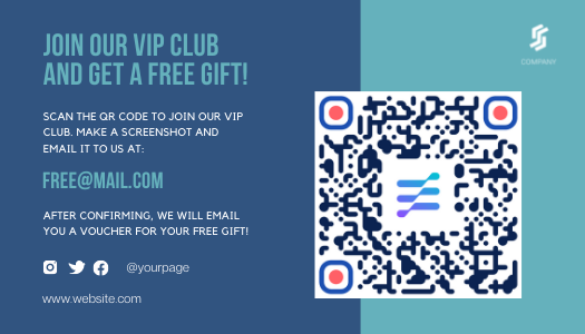 Light and dark blue Amazon post-purchase template with QR code
