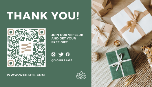 Pastel green Amazon post-purchase template with QR code