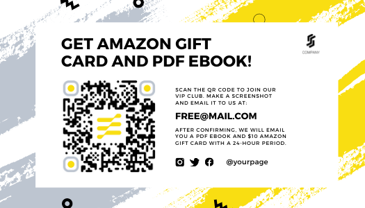 Yellow & Gray Amazon post-purchase template with QR code